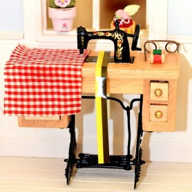 MACHINE A COUDRE VINTAGE SUR TABLE COUTURE MINIATURE LATI YELLOW PUKIFEE DIORAMA DOLLHOUSE