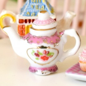 MINIATURE VINTAGE PINK ORNATE TEAPOT DOLLHOUSE DIORAMA JEWEL DIY