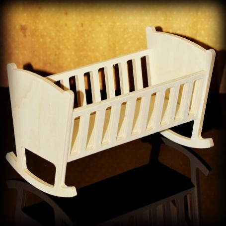 WOODEN BABY BED CRADLE DIY FOR BARBIE FASHION ROYALTY BLYTHE PULLIP MOMOKO MONSTER HIGH DOLLHOUSE DIORAMA 1/6