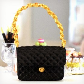 HAND BAG BLACK CROCO MINIATURE LATI YELLOW BARBIE FASHION ROYALTY BLYTHE PULLIP DOLL DIORAMAS 1:6 DOLLHOUSE