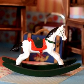 MINIATURE RESIN ROCKING PONY FOR DOLLHOUSE, DIORAMA, FURNITURE 1:12