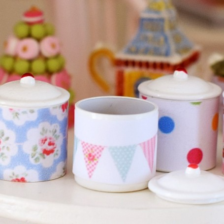 SUGAR & CANDIES CANISTER SHABBY CATH KIDSTON HAND MADE MINIATURE DIORAMA DOLLHOUSE 1:12