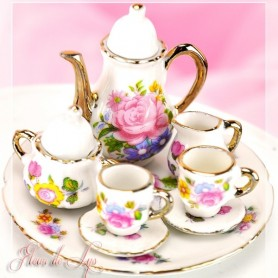 SUPERBE SERVICE A THE OU CAFE VINTAGE PORCELAINE SHABBY MINIATURE POUPEE BARBIE FASHION ROYALTY SYBARITE TONNER BJD