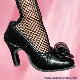 "MY FAIR LADY BLACK HIGH HEELS SHOES FOR SYBARITE TONNER KINGDOM DOLLS JAMIESHOW 16"" DOLLS"