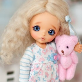 PETIT OURS OURSON 3.5 CM MINIATURE BARBIE BLYTHE PULLIP FASHION ROYALTY BJD LATI YELLOW PUKIFEE DOLLHOUSE DIORAMA 1/6