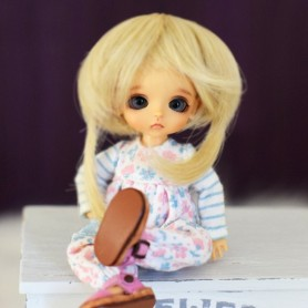 PERRUQUE WIG MILK BROWNIE BJD LATI WHITE LATIDOLL PUKIPUKI FAIRYLAND DOLLZONE MOMO 3/4""