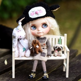 WOODEN NICE OLD BENCH DIY FOR BARBIE FASHION ROYALTY BLYTHE PULLIP MOMOKO MONSTER HIGH DOLLHOUSE DIORAMA 1/6
