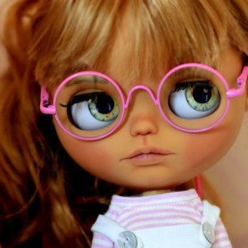 BEAUTIFUL LIGHT PINK GLASSES REAL GLASS FOR BLYTHE AND NEO BLYTHE DOLLS