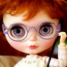 BEAUTIFUL LIGHT PURPLE GLASSES REAL GLASS FOR BLYTHE AND NEO BLYTHE DOLLS