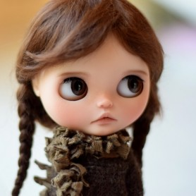 "PURE MOHAIR BROWN LONG BRAIDS WIG 10-11"" BJD BLYTHE MEADOWDOLLS MAE ADRYN ZWERGNASE DOLL"
