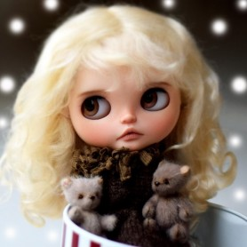 PERRUQUE WIG MOHAIR AGATHA BLOND POUR POUPEES BLYTHE & NEO BLYTHE 10-11