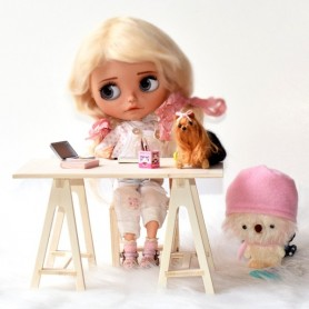 DIY TABLE ATELIER + CHAISE EN BOIS MEUBLE BARBIE FASHION ROYALTY BLYTHE PULLIP MOMOKO MONSTER HIGH DOLLHOUSE DIORAMA 1/6