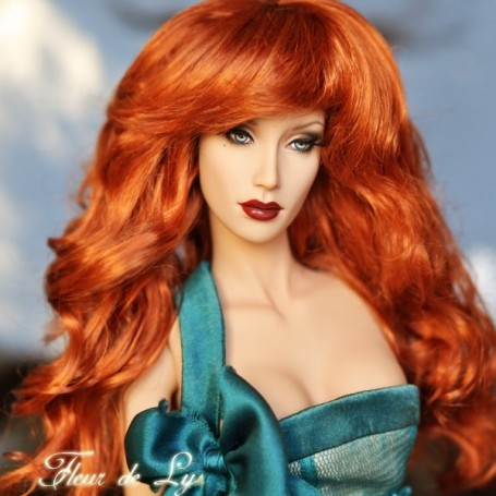 PERRUQUE WIG ZOEY ROUSSE RED CARROT POUR SYBARITE TONNER KINGDOM DOLL MEADOWDOLL 5/6""