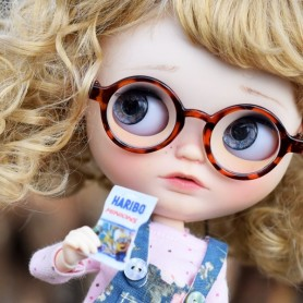 ROUND LEOPARD DOLL GLASSES FOR BLYTHE BJD MEADOWDOLLS SAFFI BAILEY SILVIA SCARLETT