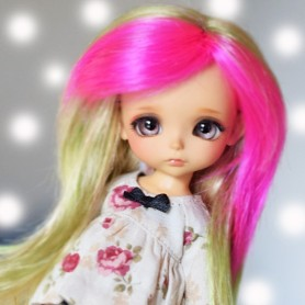 "JADE TRIO HOT PINK LIME GREEN 5/6"" WIG FOR BJD SYBARITE TONNER JAMIESHOW BJD LATI YELLOW MH PUKIFEE"