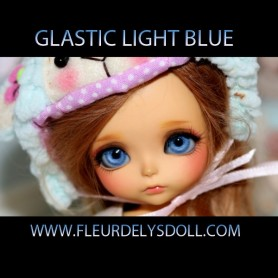 GLASTIC JAPAN 8 MM LIGHT BLUE EYES BJD BALL JOINTED DOLL LATI WHITE ....