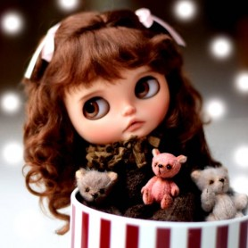 PERRUQUE WIG MOHAIR JOSEPHINE BROWN POUR POUPEES BLYTHE & NEO BLYTHE 10-11