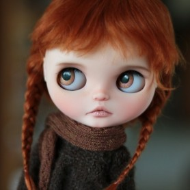 "PURE LONG MOHAIR RED FOX BRAIDS WIG 10-11"" BJD DOLLS BLYTHE MEADOWDOLLS MAE ADRYN ZWERGNASE DOLL"