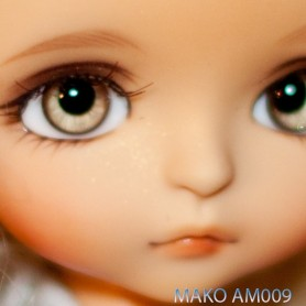 YEUX MAKO GLASS EYES AM009 POUPÉE BJD BALL JOINTED DOLL LATI YELLOW 14 mm