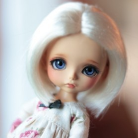 PERRUQUE WIG ALEX MOHAIR WHITE BLOND POUR LATI YELLOW PUKIFEE BJD SYBARITE TONNER KINGDOM DOLLS 5/6