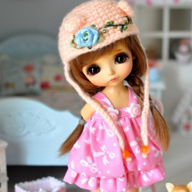 """PINK BOW BUBLE DRESS OUTFIT FOR BJD LATI YELLOW PUKIFEE AND OTHER 6"""" DOLLS"""