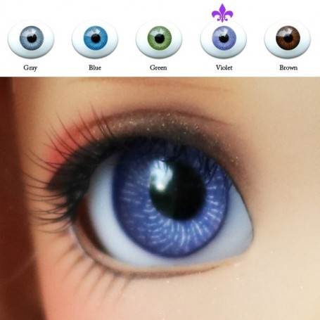 VIOLET CLASSIC OVAL GLASS EYES 12 mm FOR DOLL BJD BALL JOINTED DOLL LATI YELLOW