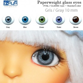 YEUX EN VERRE GRIS OVAL 12 mm CLASSIC GLASS EYES POUR POUPÉE BJD BALL JOINTED DOLL LATI YELLOW