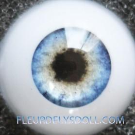 YEUX GLIB LC01 REAL BLUE RÉALISTES EYES POUR POUPÉE BJD BALL JOINTED DOLL LATI YELLOW PUKIFEE IPLEHOUSE DOLLS 14 mm