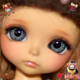 YEUX EN VERRE OVAL REAL GRIS GREY 14 mm GLASS EYES POUR POUPÉE BJD BALL JOINTED DOLL LATI YELLOW ...