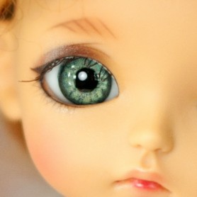 OVAL REAL GREEN 14 mm PAPERWEIGHT GLASS EYES FOR DOLL BJD BALL JOINTED DOLL LATI YELLOW PUKIFEE