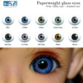 OVAL REAL BLUE COBALT 14 mm PAPERWEIGHT GLASS EYES FOR DOLL BJD BALL JOINTED DOLL LATI YELLOW PUKIFEE