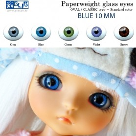 YEUX GLIB EN VERRE BLEU OVAL CLASSIC REALISTIC DOLL EYES 14 mm BJD BALL JOINTED DOLL LATI YELLOW IPLEHOUSE MSD