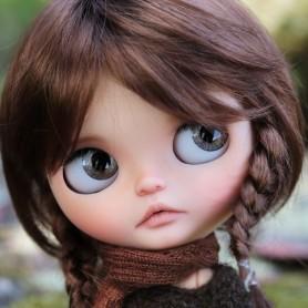 PERRUQUE WIG MONIQUE TESSIE REDDISH BROWN EXCLUSIVE FLEURDELYS POUR POUPEES BLYTHE & NEO BLYTHE 10-11