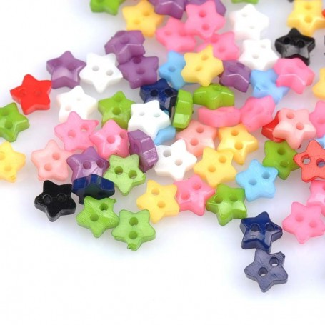10 TINY JAPANESE STAR BUTTONS 5 MM DOLL SEWING SWEATER PANTS DRESS BJD LATI YELLOW PUKIFEE BARBIE ....