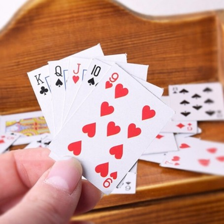 1 PLAYCARD SET POKER GAME MINIATURE LATI YELLOW BARBIE FASHION ROYALTY BLYTHE PULLIP DOLL DIORAMAS 1:6 DOLLHOUSE