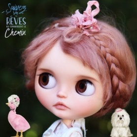 "DARK PINK PURE LONG MOHAIR BRAIDS WIG 10-11"" EXCLUSIVE FDL FOR BLYTHE AND NEO BLYTHE DOLLS"