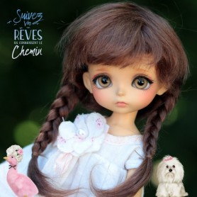 PERRUQUE WIG MOHAIR MAFALDA BROWN BJD LATI YELLOW PUKIFEE BJD MY MEADOWS CHARA NAVI DOLLZONE LANKUI 5/6