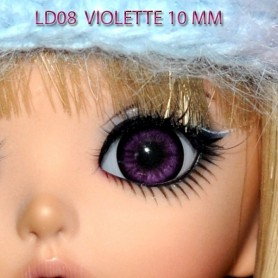 YEUX GLIB VIOLET LD08 REALISTIC EYES POUPÉE BJD BALL JOINTED DOLL LATI YELLOW IPLEHOUSE 14 mm
