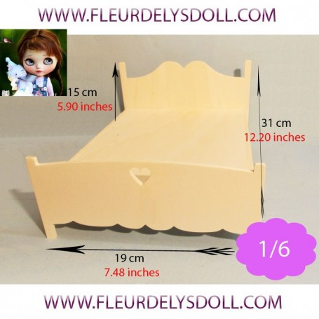 WOODEN DOUBLE BED FURNITURE BARBIE FASHION ROYALTY BLYTHE PULLIP MOMOKO MONSTER HIGH DOLLHOUSE DIORAMA 1/6 DIY