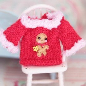 """XMAS GINGERBREAD PULLOVER SWEATER OUTFIT FOR BJD LATI YELLOW PUKIFEE MYMEADOWS NAVI CHARA ... AND OTHER 6"""" DOLLS"""