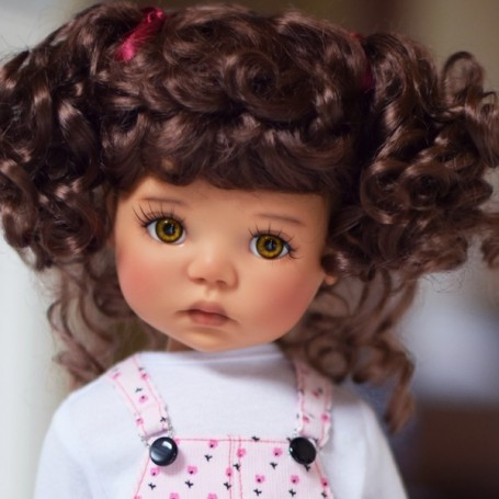 "PERRUQUE MONIQUE WIG ABBY CHESTNUT BROWN MOHAIR 12.13 POUR BJD MY MEADOWS 18"" DOLLS ETC..."