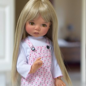 "PERRUQUE MONIQUE WIG PEGGY BLOND 12/13 POUR POUPÉE BJD MEADOWDOLLS SAFFI BAILEY SYLVIA-SCARLET 18"" DOLLS ETC..."
