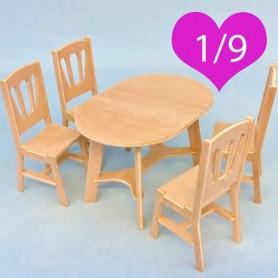 TABLE ET 4 CHAISES MINIATURE EN BOIS POUR POUPÉE BJD LATI YELLOW PUKIFEE MIDDIE BLYTHE MYMEADOW DOLL DIORAMA DOLLHOUSE 1/9