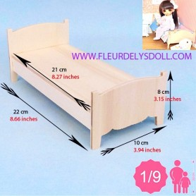 WOODEN BED MINIATURE BJD LATI YELLOW PUKIFEE MIDDIE BLYTHE MYMEADOWS SMALL DOLL DIORAMA DOLLHOUSE DIY 1/9