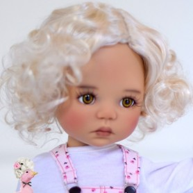 "MONIQUE MOHAIR DOLL WIG CURLY BLOND 12/13 FOR BJD MEADOWDOLLS BIG SAFFI BAILEY SILVIA SCARLETT... 18"" DOLLS"