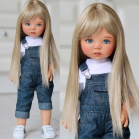 "MONIQUE DOLL WIG PEGGY DARK BLOND 12/13 FOR BJD MEADOWDOLLS SAFFI BAILEY SYLVIA-SCARLET 18"" DOLLS ETC..."