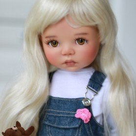 "PERRUQUE MONIQUE WIG CAMILLE BLOND 12.13 POUR BJD MY MEADOWS 18"" DOLLS ETC..."