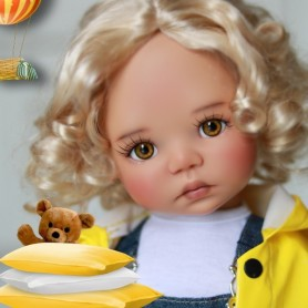 "MONIQUE MOHAIR WIG MARINA HONEY BLOND 12/13 FOR BJD MY MEADOWS 18"" DOLLS ETC..."