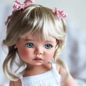 "DOLL WIG LINA VANILLE BLOND 12/13 FOR BJD MEADOWDOLLS BIG SAFFI BAILEY SILVIA SCARLETT... 18"" DOLLS"