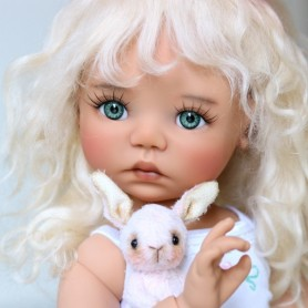 "PURE MOHAIR WIG BLOND VANILLE 12/13 EXCLUSIVE FDL FOR BJD MY MEADOWS 18"" DOLLS ETC..."